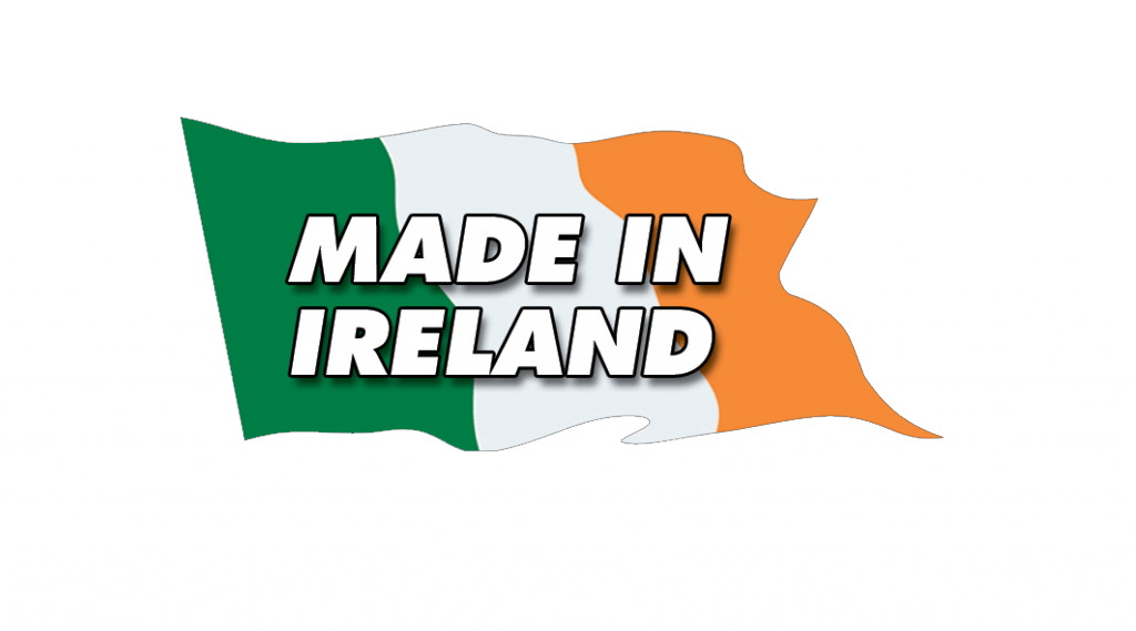 "a flag with ""made in ireland"" written on it"