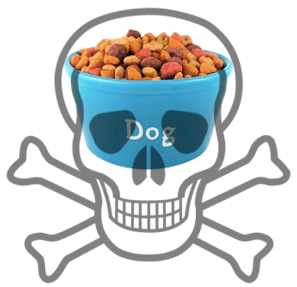 a picture of a poison sign over a bowl of dry food