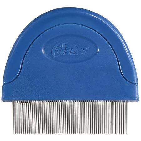 photo of a blue dog flea comb