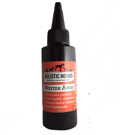 A bottle of Worms Away, a natural worm treatment for dogs