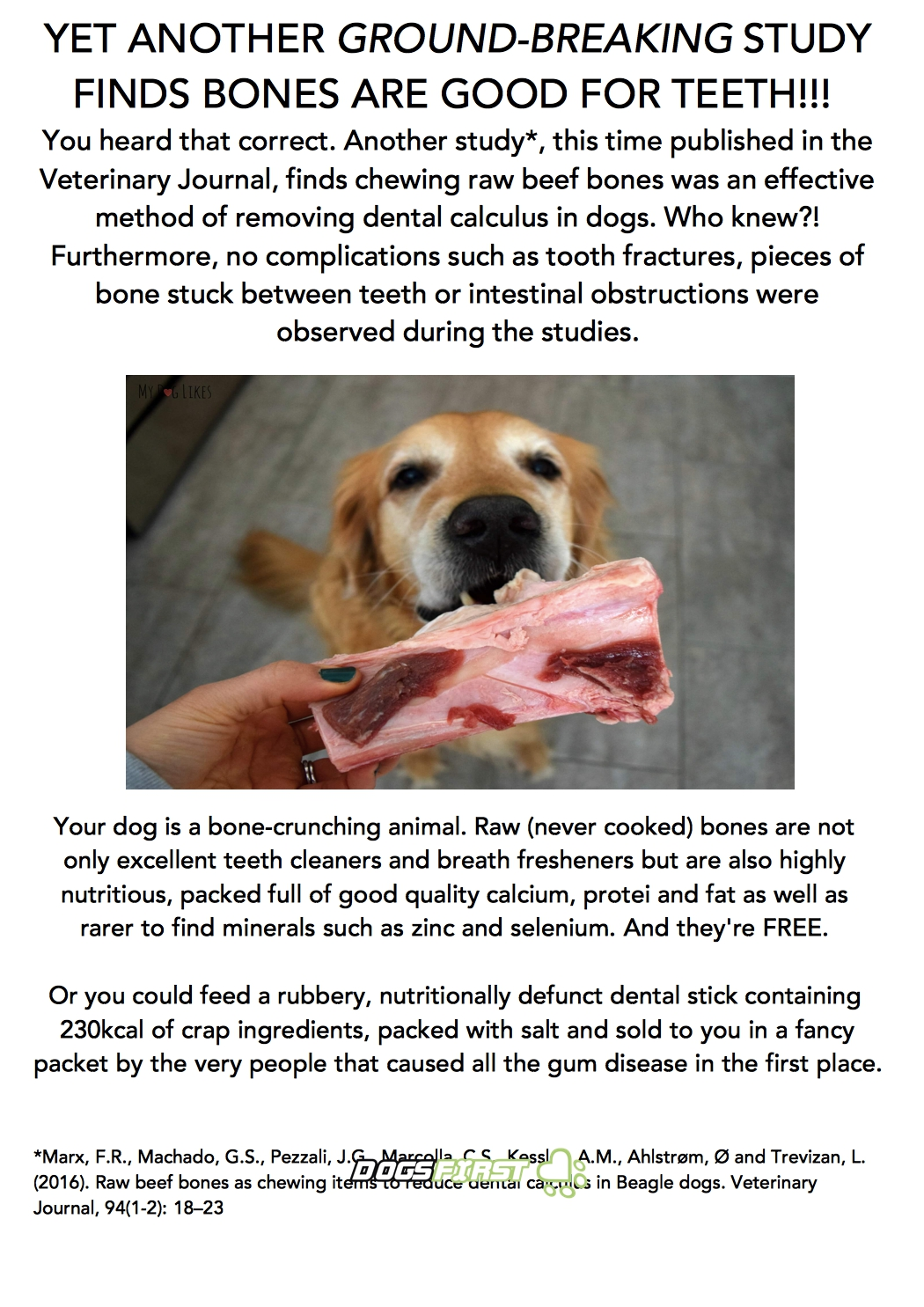 WSAVA Raw Feeding Statement, Dissected Dogs First