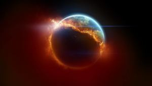an image of the earth on fire