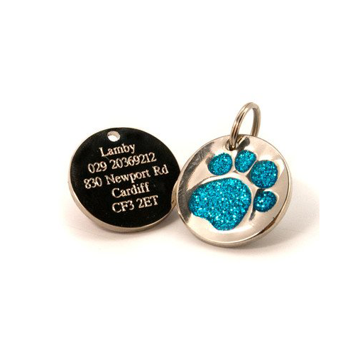 Glittery Paw Dog Tags UK