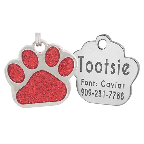 Glittery Paw Dog Tags US
