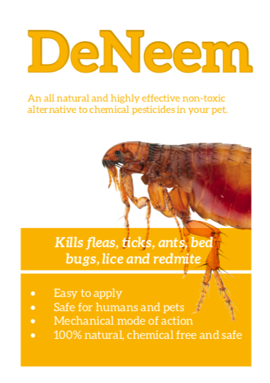 fleas can leave a dog scratching, deneem kills them quickly and naturally
