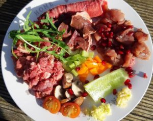 beautiful plate of raw dog food ingredients