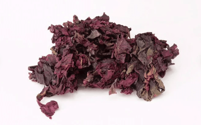 Dried dulse, red seaweed, used in Kanex natural wormer for dogs